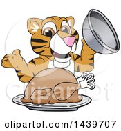 Tiger Cub School Mascot Character Serving A Thanksgiving Turkey