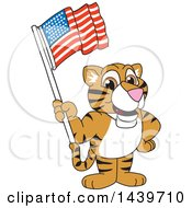 Clipart Of A Tiger Cub School Mascot Character Waving An American Flag Royalty Free Vector Illustration