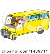 Tiger Cub School Mascot Character Driving A School Bus
