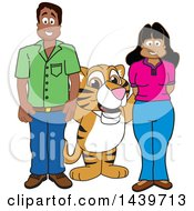 Clipart Of A Tiger Cub School Mascot Character With Happy Teachers Or Parents Royalty Free Vector Illustration