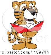 Clipart Of A Tiger Cub School Mascot Character Reading A Book Royalty Free Vector Illustration by Toons4Biz