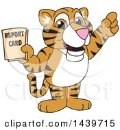 Clipart Of A Tiger Cub School Mascot Character Holding A Report Card Royalty Free Vector Illustration by Toons4Biz