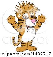 Clipart Of A Tiger Cub School Mascot Character With A Mohawk Royalty Free Vector Illustration
