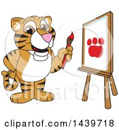 Clipart Of A Tiger Cub School Mascot Character Painting Royalty Free Vector Illustration