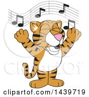 Clipart Of A Tiger Cub School Mascot Character Singing Royalty Free Vector Illustration