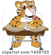 Tiger Cub School Mascot Character Taking A Quiz