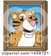 Clipart Of A Tiger Cub School Mascot Character Portrait Royalty Free Vector Illustration by Toons4Biz