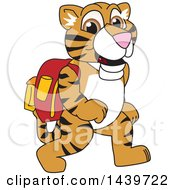 Clipart Of A Tiger Cub School Mascot Character Wearing A Backpack Royalty Free Vector Illustration by Toons4Biz
