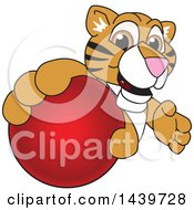 Tiger Cub School Mascot Character Grabbing A Red Ball