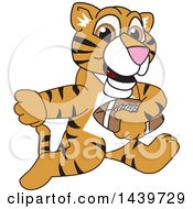 Clipart Of A Tiger Cub School Mascot Character Playing Football Royalty Free Vector Illustration