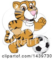 Clipart Of A Tiger Cub School Mascot Character Playing Soccer Royalty Free Vector Illustration