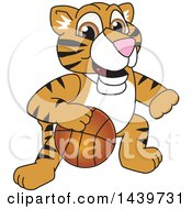 Clipart Of A Tiger Cub School Mascot Character Playing Basketball Royalty Free Vector Illustration by Toons4Biz