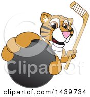 Tiger Cub School Mascot Character Grabbing A Hockey Puck And Holding A Stick