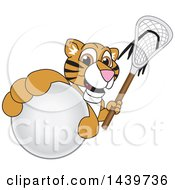 Tiger Cub School Mascot Character Grabbing A Lacrosse Ball And Holding A Stick