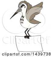 Clipart Of A Sandpiper Bird School Mascot Character Flying With A Banner Royalty Free Vector Illustration by Toons4Biz