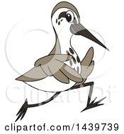 Clipart Of A Sandpiper Bird School Mascot Character Running Royalty Free Vector Illustration by Toons4Biz