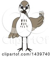 Sandpiper Bird School Mascot Character Holding A Tooth