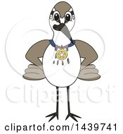 Clipart Of A Sandpiper Bird School Mascot Character Wearing A Sports Medal Royalty Free Vector Illustration