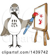 Clipart Of A Sandpiper Bird School Mascot Character Painting Royalty Free Vector Illustration by Toons4Biz