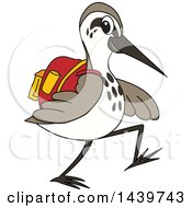 Sandpiper Bird School Mascot Character Wearing A Backpack