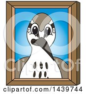 Clipart Of A Sandpiper Bird School Mascot Character Portrait Royalty Free Vector Illustration by Toons4Biz
