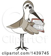 Clipart Of A Sandpiper Bird School Mascot Character Reading A Book Royalty Free Vector Illustration by Toons4Biz
