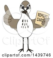 Clipart Of A Sandpiper Bird School Mascot Character Holding A Report Card Royalty Free Vector Illustration