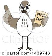 Sandpiper Bird School Mascot Character Holding A Report Card