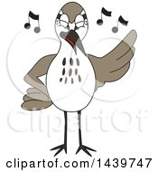 Clipart Of A Sandpiper Bird School Mascot Character Singing Royalty Free Vector Illustration by Toons4Biz