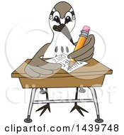 Clipart Of A Sandpiper Bird School Mascot Character Taking A Quiz Royalty Free Vector Illustration by Toons4Biz