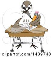 Sandpiper Bird School Mascot Character Taking A Quiz