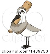 Clipart Of A Sandpiper Bird School Mascot Character Playing Baseball Royalty Free Vector Illustration by Toons4Biz