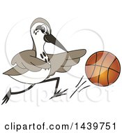 Clipart Of A Sandpiper Bird School Mascot Character Playing Basketball Royalty Free Vector Illustration by Toons4Biz