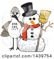 Clipart Of A Sandpiper Bird School Mascot Character With A Snowman Royalty Free Vector Illustration by Toons4Biz