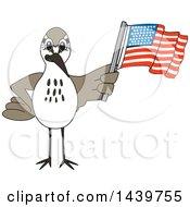 Poster, Art Print Of Sandpiper Bird School Mascot Character Waving An American Flag
