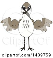 Sandpiper Bird School Mascot Character Flexing