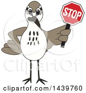 Clipart Of A Sandpiper Bird School Mascot Character Holding A Stop Sign Royalty Free Vector Illustration