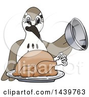 Clipart Of A Sandpiper Bird School Mascot Character Serving A Roasted Thanksgiving Turkey Royalty Free Vector Illustration by Toons4Biz