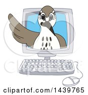 Clipart Of A Sandpiper Bird School Mascot Character Emerging From A Computer Screen Royalty Free Vector Illustration
