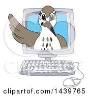 Sandpiper Bird School Mascot Character Emerging From A Computer Screen