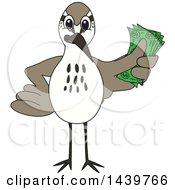 Sandpiper Bird School Mascot Character Holding Cash Money