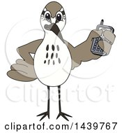 Clipart Of A Sandpiper Bird School Mascot Character Holding A Cell Phone Royalty Free Vector Illustration by Toons4Biz