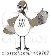 Sandpiper Bird School Mascot Character Holding A Cell Phone