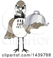 Clipart Of A Sandpiper Bird School Mascot Character Waiter Holding A Cloche Platter Royalty Free Vector Illustration by Toons4Biz