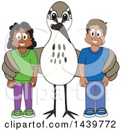 Clipart Of A Sandpiper Bird School Mascot Character With Happy Students Royalty Free Vector Illustration by Toons4Biz