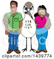 Sandpiper Bird School Mascot Character With Happy Parents Or Teachers