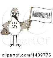 Sandpiper Bird School Mascot Character Holding A Flag