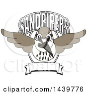 Sandpiper Bird School Mascot Character With Text And A Banner