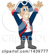 Clipart Of A Patriot School Mascot Character Cheering Royalty Free Vector Illustration