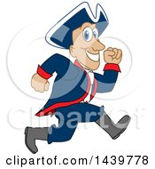 Clipart Of A Patriot School Mascot Character Running Royalty Free Vector Illustration by Toons4Biz